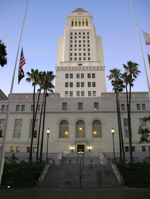 Historic Park Around Los Angeles City Hall Turns Greener