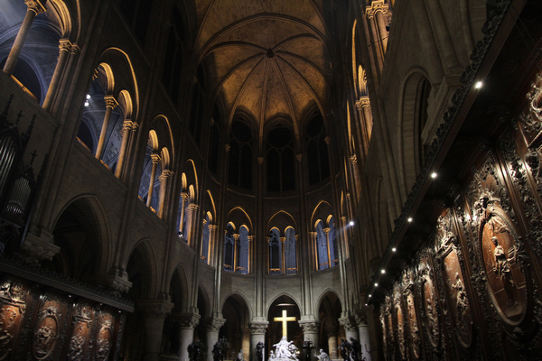 Notre Dame emits a more solemn atmosphere with dimmed LED lights