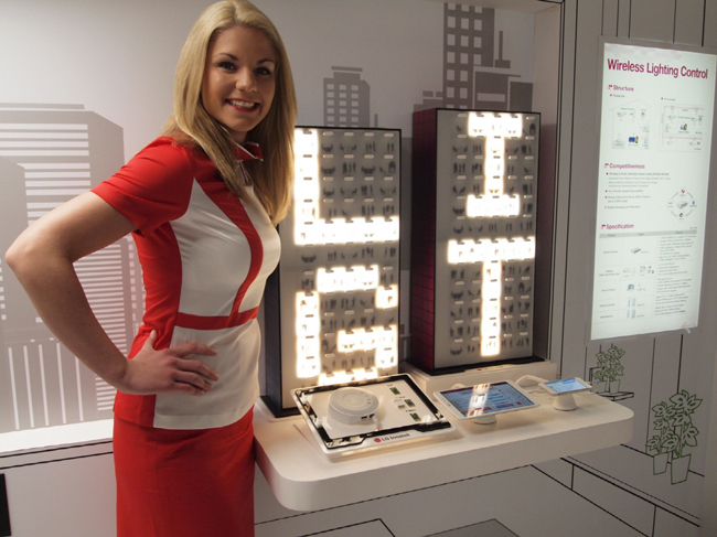 A LG show girl stands next to the companyu0027s smart lighting products displayed at Light+Building 2014 last week. (LEDinside/LG Innotek)  sc 1 st  LEDinside & LG Innotek Displays Full Range of LED Lighting Solutions in ...