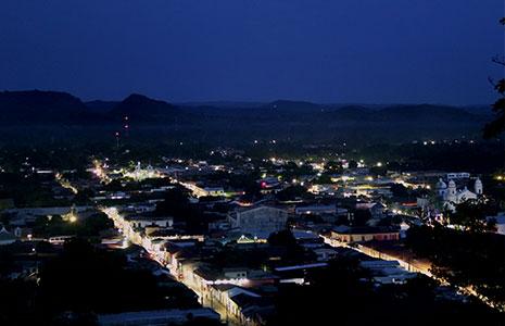 The City of Sonsonate in El Salvador lit with intelligent LED streetlights at night. (All photos courtesy of GE) & El Salvador City Upgrades to Smart LED Streetlight System - LEDinside