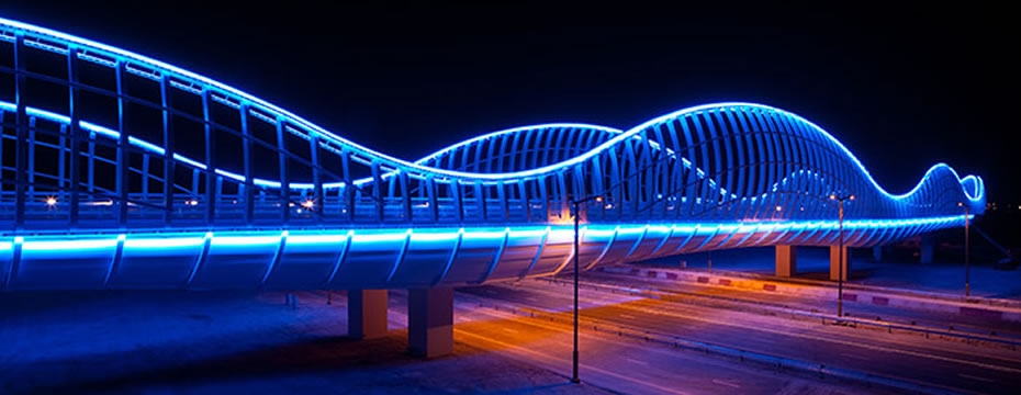 The Meydan Bridge In Dubai Brilliantly Illuminated Ledinside