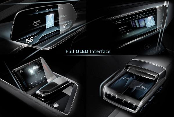 audi 39 s future e tron quattro concept car showcases oled dashboard and displays ledinside. Black Bedroom Furniture Sets. Home Design Ideas