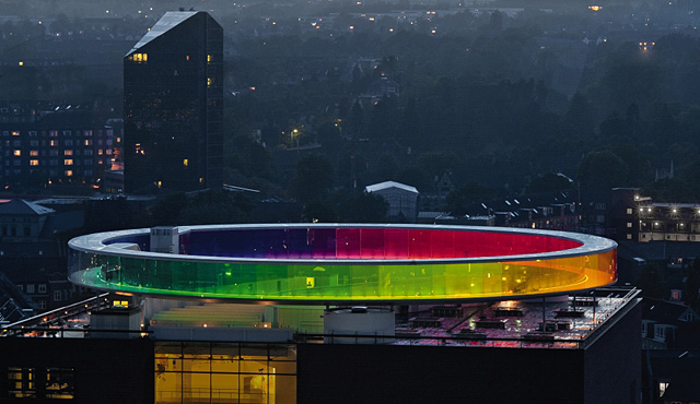 "Danish Art Museum ARoS ""Rainbow Halo"" Illuminated with ..."