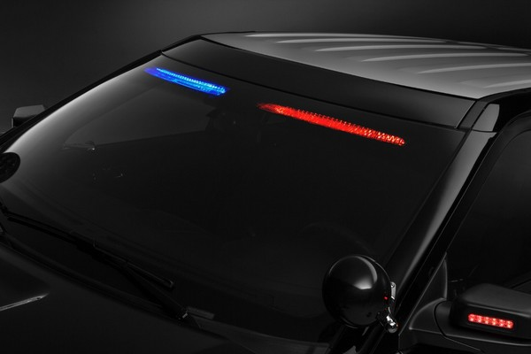 Close Up Of Fordu0027s Front Interior Visor Light Bar For Patrol Vehicles.