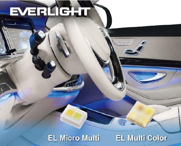 億光 EL EL Micro Multi (1216) 及 Multi Color (2525) 多彩產品,適合車內情境應用 (依照客戶需求選擇適當的封裝結構及產品物料)