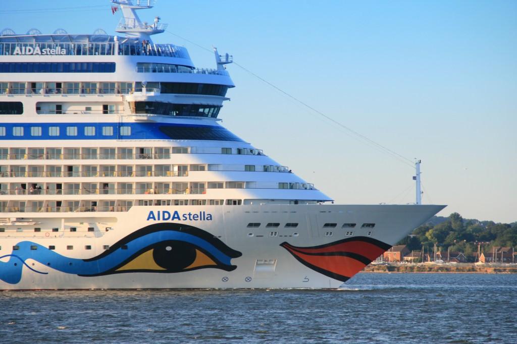 71,300 tons cruise ship AIDA Stella departing Southampton at sunset bound for Invergordon on 19 July 2013.
