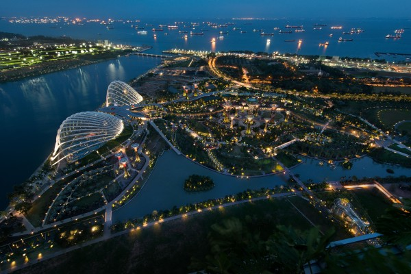 The sky view of the Gardens by the Bay. Photo Credit: LPA, Toshio Kaneko
