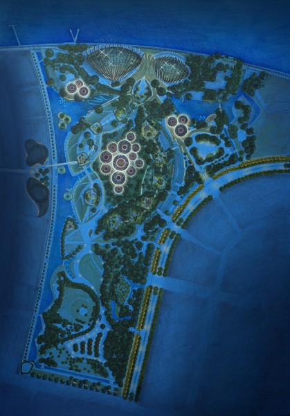 An sketch produced in the concept stage that illustrates an overall lighting image for Gardens by the Bay. Photo Credit: LPA