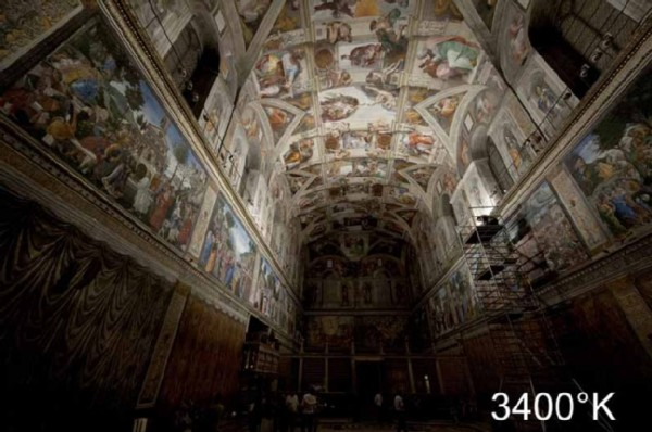 Around 7,000 LEDs will homogeneously illuminate the Sistine Chapel from next year onwards. Copyright – Governatorato dello Stato della Città del Vaticano