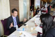 Calvin Yeh, Global Strategic Marketing Manager of Merck addressing his opinion during an interview session. (LEDinside)