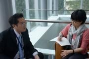 Dr. Yao Chiu-Lin, Deputy Director in Marketing Center of Epistar (left) is interviewed after his presentation. (LEDinside)