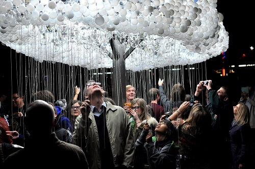 Cloud Is An Interactive Light Sculpture Which Allows Viewers To Turn Lights On And Off By Pulling The Cords Photo Courtesy Of