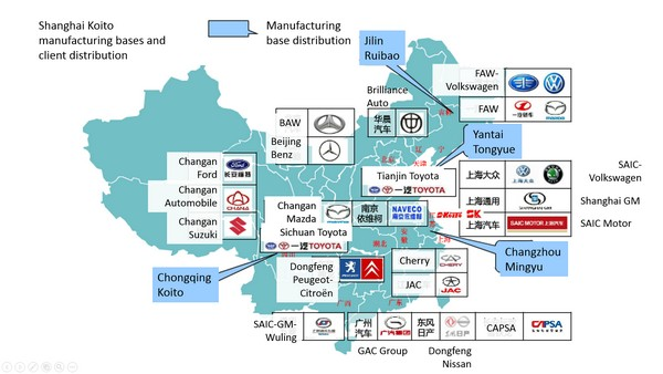 Shanghai Koito Manufacturing Bases And Clients Source LEDinside