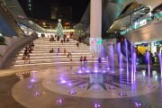 Playful interactive lighting to the fountain in the plaza changes color at regular durations.