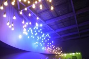 Philips Hue bulbs changed colors in tune with the music playing at the exhibition center.