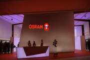 Osram booth displaying advanced lighting technology at Lighting+Building 2014.